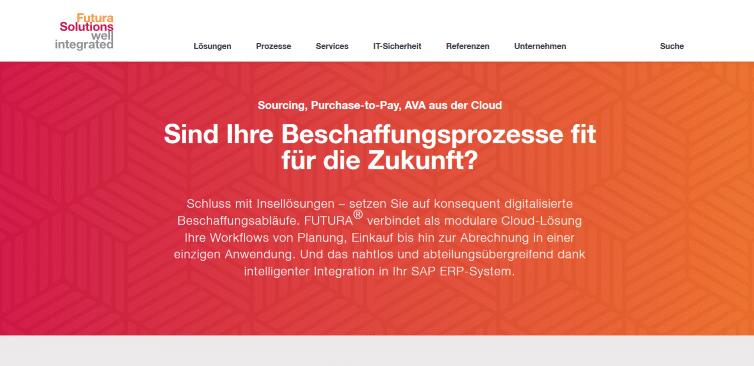 Screenshot_Startseite_Futura Solutions_Ausschnitt