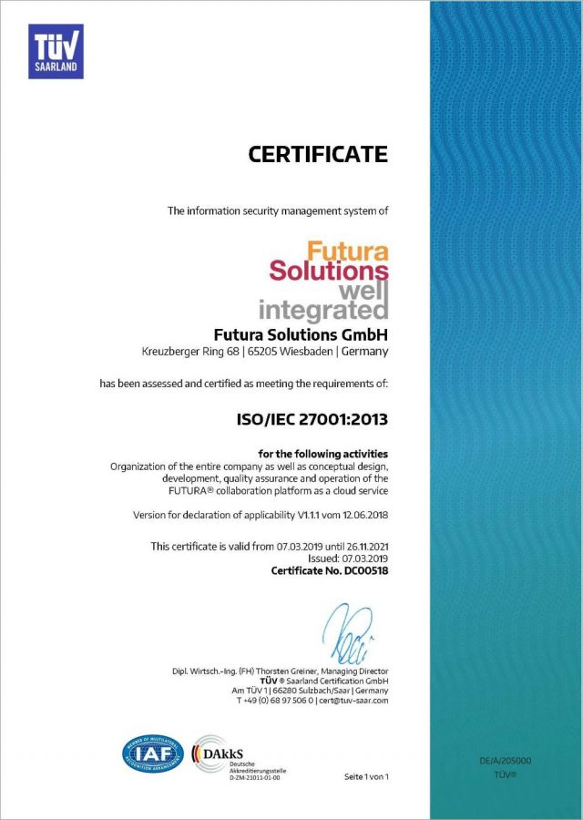 ISO/IEC 27001 certificate for Futura Solutions